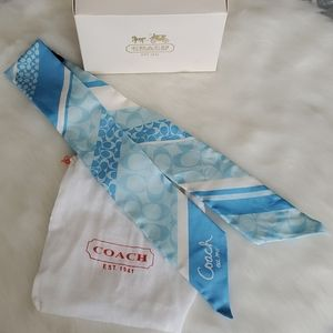 Authentic blue Coach tilly scarf